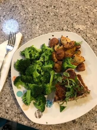 Ahi Tuna with Spicy Tomato Jam, Roasted Potatoes and Broccoli